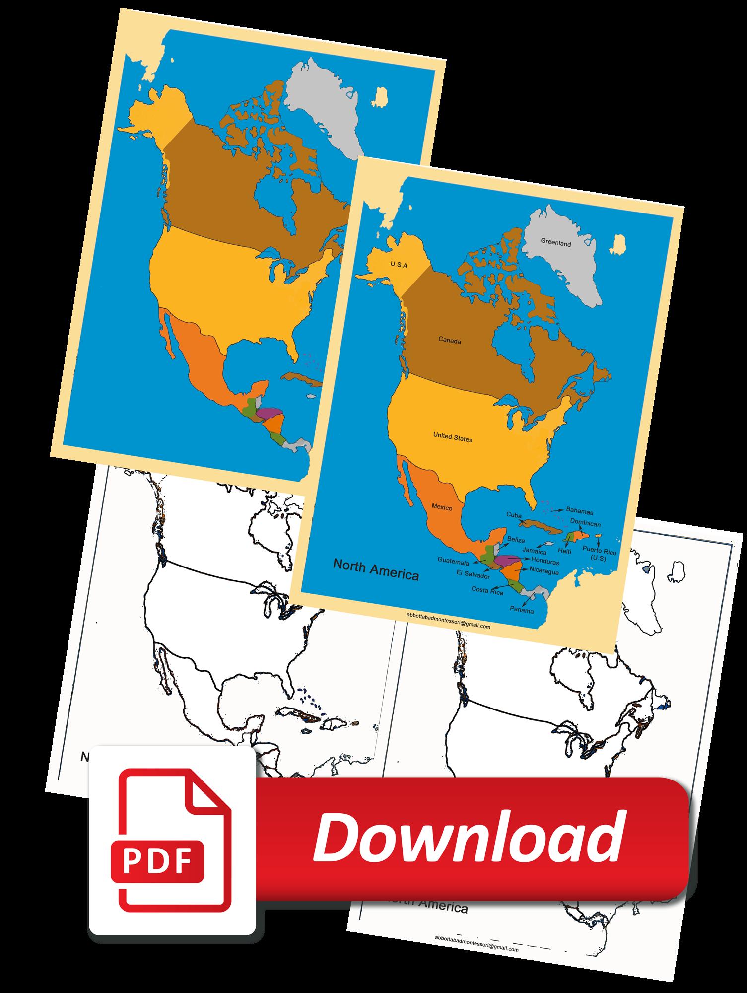 Montessori Four Map of North America